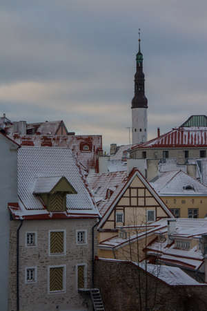 View from a high point on Old Town Tallinn on a winter evening. Estonia