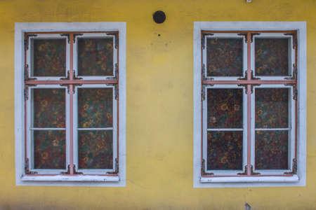 Historic windows frame in Tallinn Old Town. Estonia 版權商用圖片