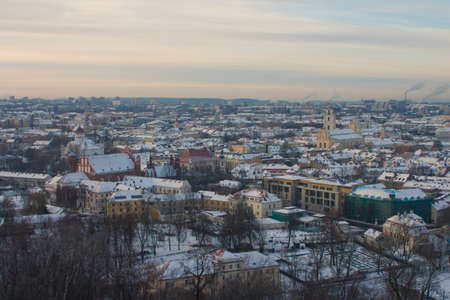 High view of the historic districts of Vilnius in winter. Lithuania