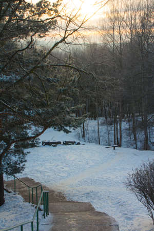 Stairs leading to a snowy park in Vilnius at dawn. Lithuania 版權商用圖片
