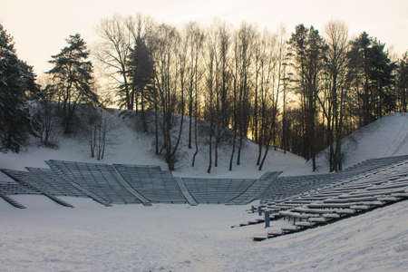 Open air concert venue in a park in Vilnius in winter. Lithuania