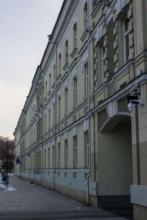 Facade of historic house in Vilnius Old Town in winter. Lithuania 版權商用圖片