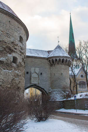 View of the Great Maritime Gates and the Fat Mary Tower in Tallinn Old Town in winter. Estonia Maritime