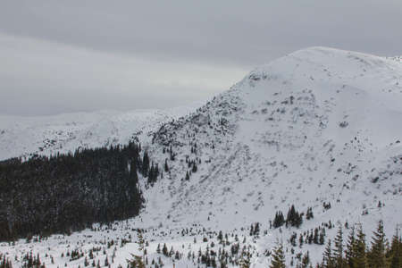 View of the snow-covered Hoverla Mountain - the highest mountain in Ukraine