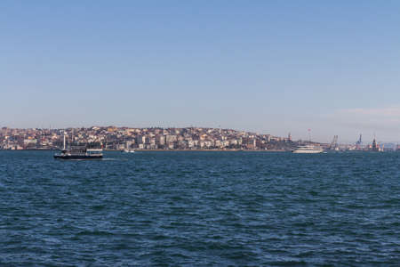 Boats in the Bosphorus on the background of the city of Istanbul. Turkey Stock fotó