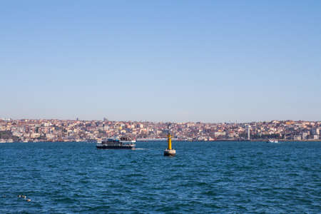 Boats in the Bosphorus on the background of the city of Istanbul. Turkey Zdjęcie Seryjne