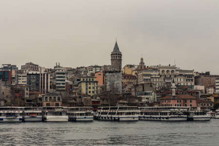 View of Galata Tower in Istanbul in rainy weather. Turkey