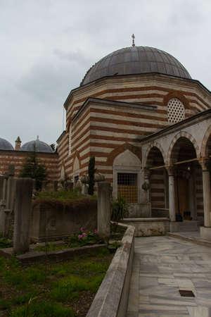 View of the SELAHI MEHMET EFENDI Mosque in Istanbul in rainy weather, Turkey 版權商用圖片