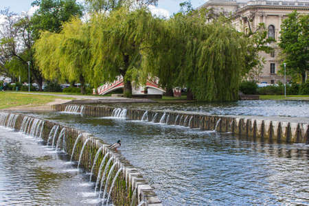 Cascade of waterfalls on Lake City Park in Budapest. Hungary Stockfoto
