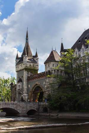 View of the gate house at Vaidahunyad Castle in Budapest. Hungary