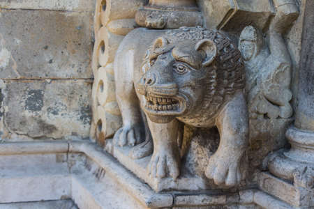 Stone sculpture in the form of a lion in Vaidahunyad Castle in Budapest. Hungary