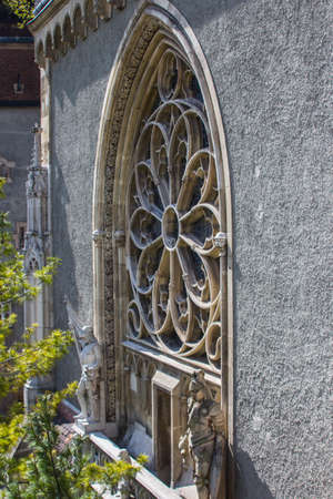 Beautiful gothic window in Vaidahunyad Castle in Budapest. Hungary