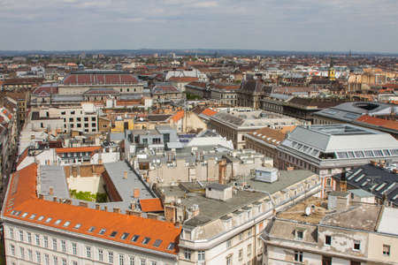 View of the roofs of the Old Town of Budapest from a high point. Hungary 版權商用圖片