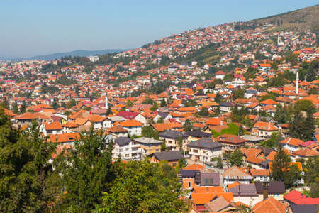 Panoramic view of the city of Sarajevo from the top of the hill. Bosnia and Herzegovina