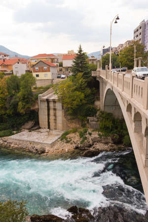 View of the Carinski Bridge and the Neretva River in Mostar. Bosnia and Herzegovina