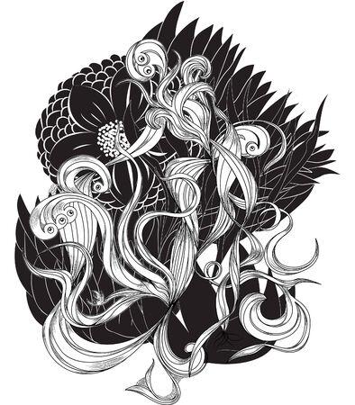 line drawings: floral bizarre