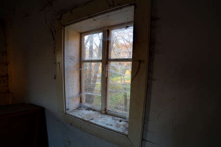 forgotten: Old window in abandoned and forgotten house.