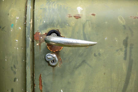 soviet: Close-up view of a handle of an old soviet truck