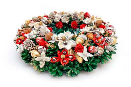 Christmas Holiday Wreath lying on Isolated White Background Stock Photo