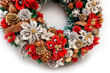 Christmas Holiday Wreath Isolated On White Background Stock Photo