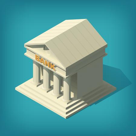Isometric bank building image illustration