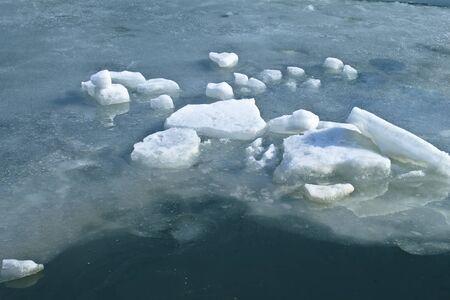 Block of ice frozen on lake