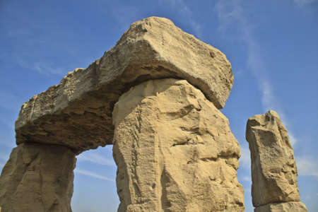 Stone monument with blue sky  Stock Photo