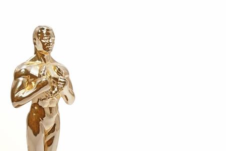 Shining golden man on white.  Stock Photo