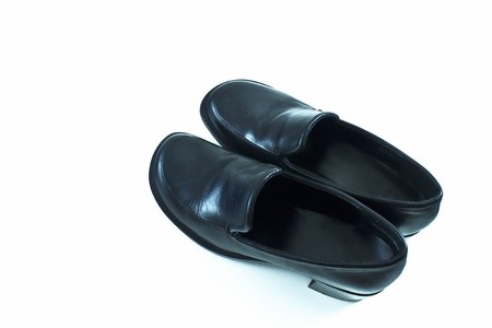 Female black leather dress shoes with a small heel and plain style   Stock Photo