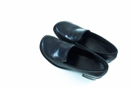 commonplace: Femmina scarpe da sera in pelle nera con un piccolo tacco e stile normale Archivio Fotografico