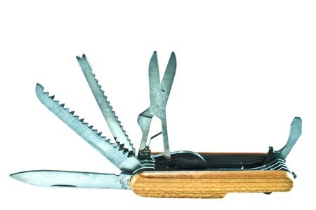 Standing pocket knife displaying stainless steel scissors, saw, file, can opener, and blade  Beautiful wooden shell  All on white