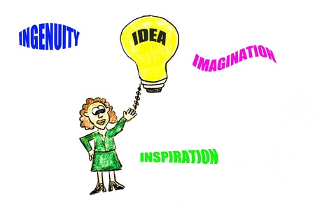 Cartoon drawing of a business woman turning on a light bulb. Creative thinking words are included.