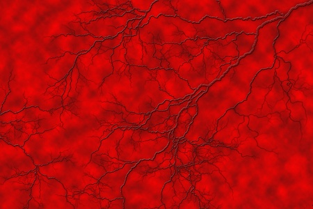 lifeblood: Spidery veins branch out on a blood vessel like surface.