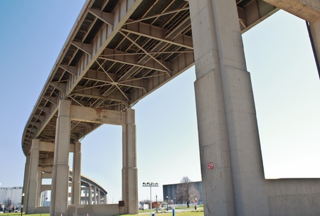 Giant pillars and beams support this massive highway in the sky.