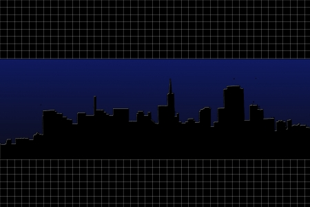 Graphic creation of a city skyline silhouetted against a deep blue sky  A black and white grid design borders the top and bottom