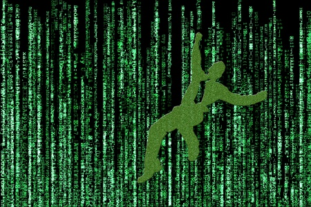 Concept design of a business man falling through a matrix of green computerized words on black background