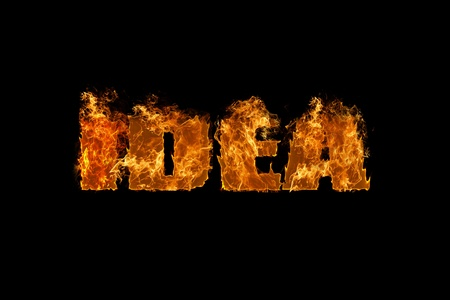Conceptual graphic design with the word idea engulfed in flames