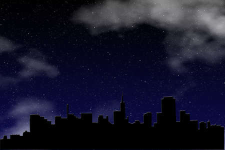 Graphic creation of a city skyline silhouetted against a deep blue sky filled with brilliant stars and clouds   矢量图像