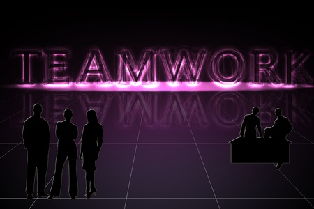 Glowing word teamwork on grid with a three dimensional design and reflection  Silhouettes of men and women teams   Purples and black are used