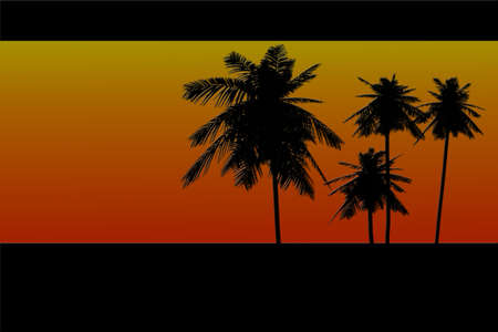 inviting: Inviting graphic design of palm tree silhouettes against a warm red, yellow, and orange sky at sunset  Black borders the top and bottom