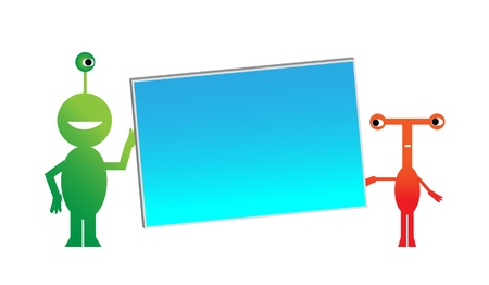 Two colorful alien creatures hold a blank presentation board.