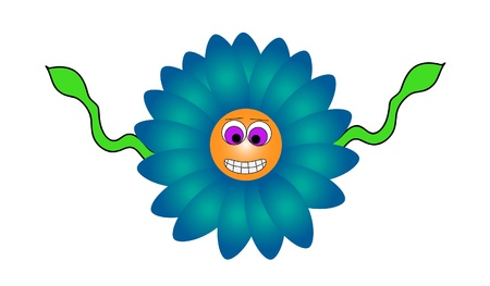 Illustration of a grinning wildflower. The petals are a pretty shade of blue. The green stem is turned into two vine like hands. Stock Vector - 19524732