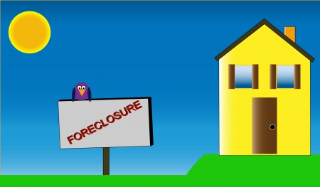 modest: Illustration of an empty yellow home with a foreclosure sign out front. A purple bird perches on the sign.  Illustration