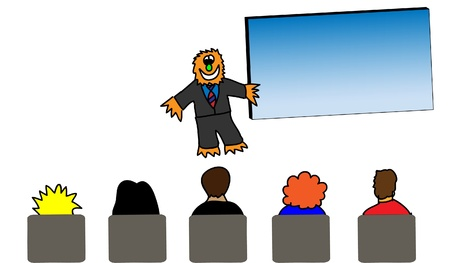 convention: Drawing of an orange monster in business attire giving a presentation in a full meeting room. The board is blank.
