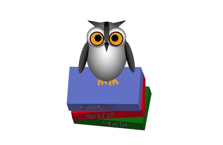 illustration of a cute owl perched on a stack of books. The titles read success, wealth, and happiness.  イラスト・ベクター素材