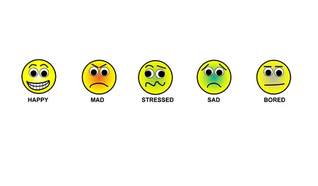 Illustration of emoticons including happy, sad, stressed, mad, bored. These smiley faces demonstrate a wide variety of emotions that a person may range through during a work day.