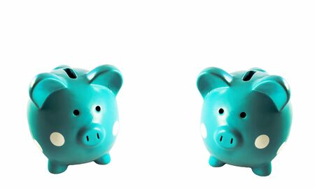 Set of two beautiful green and white spotted piggy banks