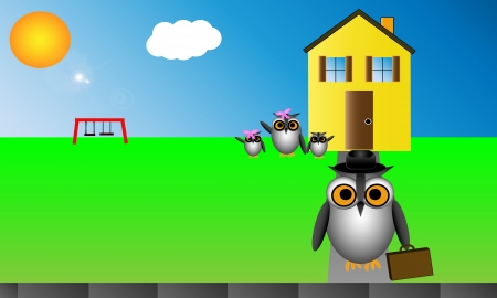 Business owl leaves his home with briefcase and hat  His owl family waves from the front yard  Vector