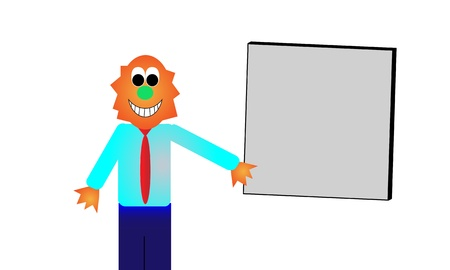 Grinning orange monster in business attire presents a blank sign