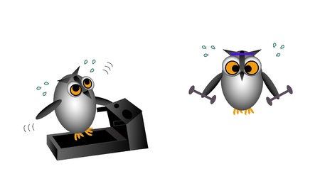 Vector illustration of two owl characters exercising. One is working up a sweat on the treadmill. The other is lifting weights.